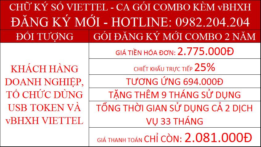 Combo chữ ký số Viettel CA và vBHXH Viettel gói 2 năm