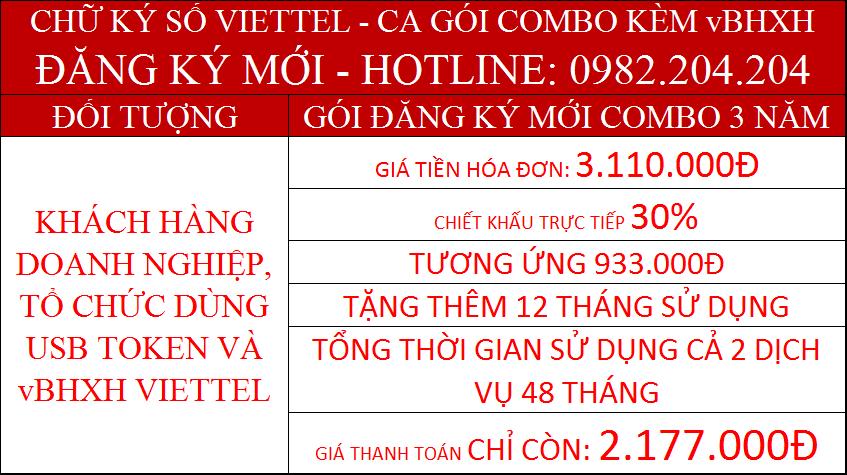 Combo chữ ký số Viettel CA và vBHXH Viettel gói 3 năm