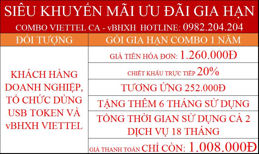 Combo gia hạn chữ ký số Viettel CA và vBHXH gói 1 năm