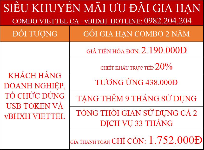 Combo gia hạn chữ ký số Viettel CA và vBHXH gói 2 năm