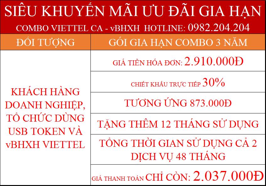 Combo gia hạn chữ ký số Viettel CA và vBHXH gói 3 năm