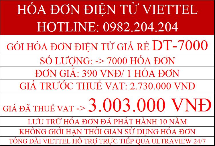 Dịch vụ hóa đơn điện tử giá rẻ Viettel Gói DT-7000 chỉ 3.003.000Đ