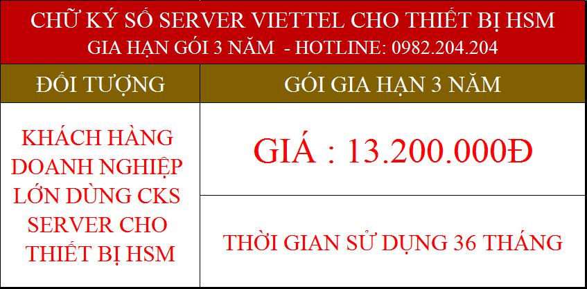 Gia hạn chữ ký số Server Viettel cấp cho thiết bị HSM gói 3 năm