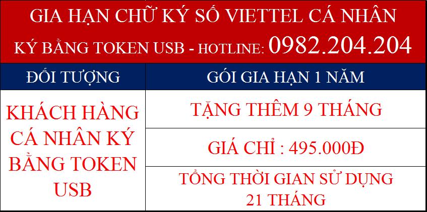 Gia hạn token Viettel cá nhân dùng USB gói 1 năm