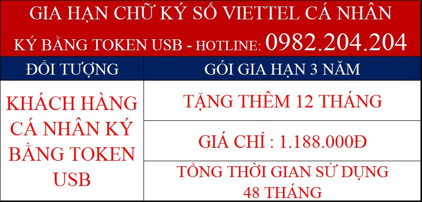 Gia hạn token Viettel cá nhân dùng USB gói 3 năm