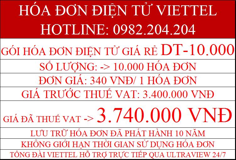 Gói hóa đơn điện tử giá rẻ Viettel DT-10000 chỉ 3.740.000Đ