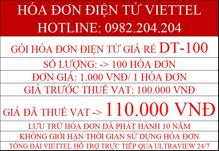 Hóa đơn điện tử giá rẻ gói DT-100 giá chỉ 110.000Đ