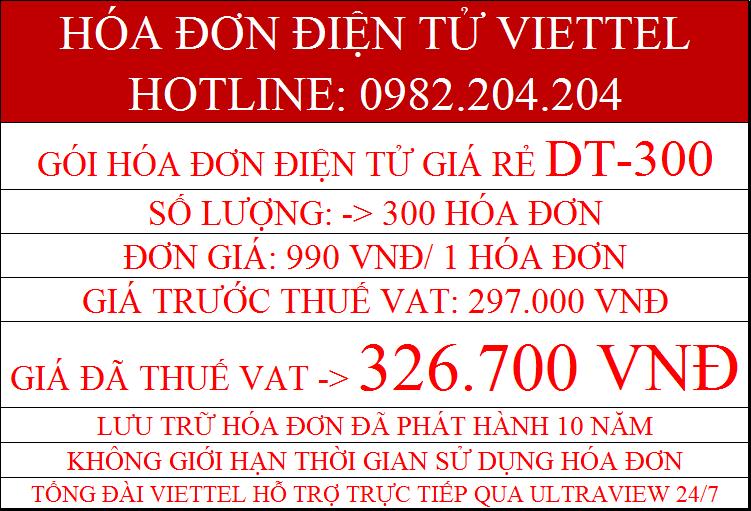 Hóa đơn điện tử giá rẻ gói DT-300 giá chỉ 327.600Đ