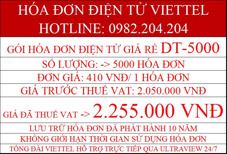 Hóa đơn điện tử gói DT-5000 giá 2.255.000Đ