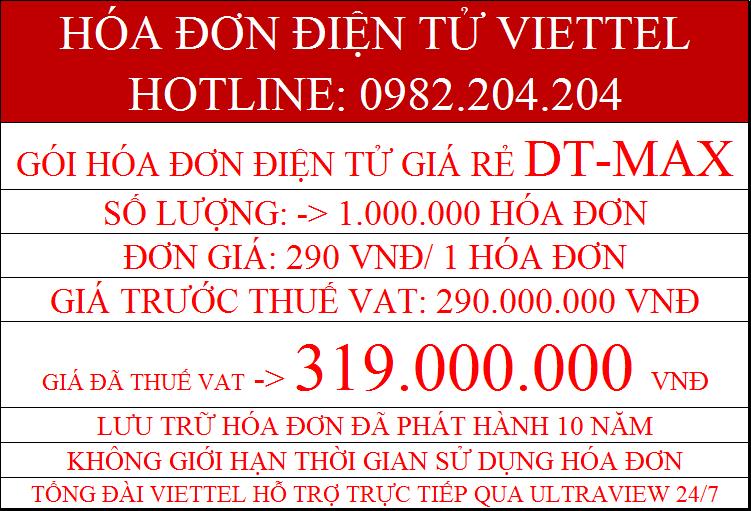 Phần mềm hóa đơn điện tử Viettel giá rẻ DT-Max chỉ 319.000.000Đ
