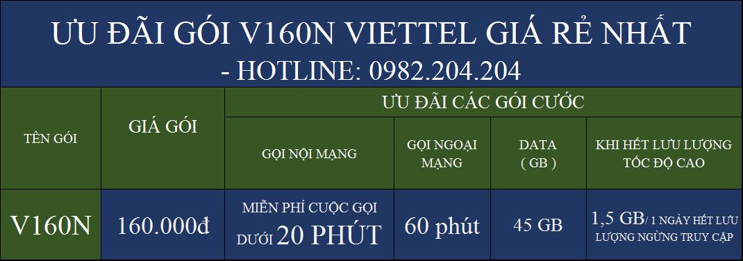 V160N Viettel Chi tiết các ưu đãi