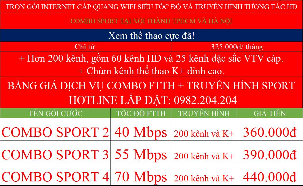 bảng giá đăng ký mạng Viettel các gói combo sport K+ nội thành Hà Nội TPHCM