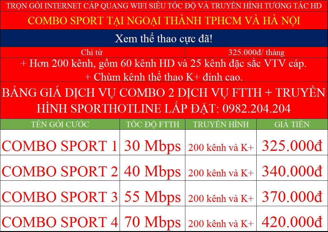 bảng giá lắp internet Viettel các gói combo sport K+ ngoại thành TPHCM Hà Nội