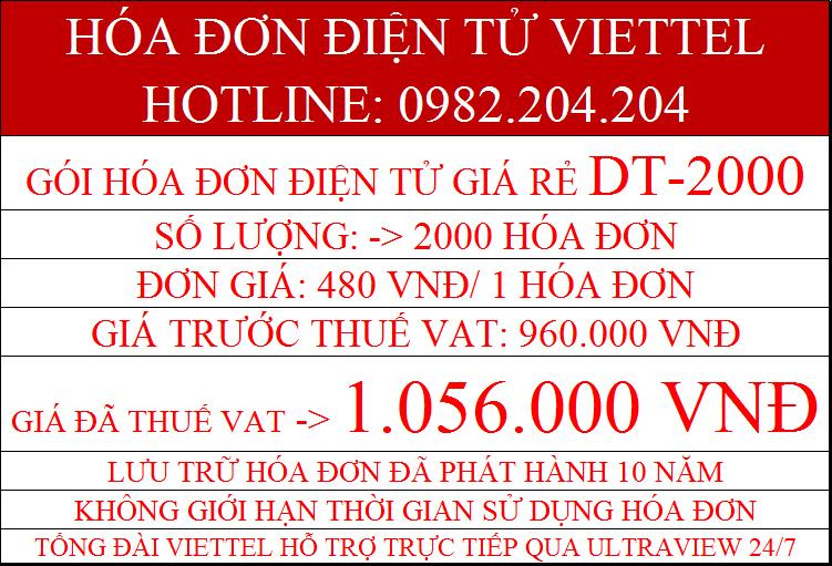 hóa đơn điện tử giá rẻ Viettel DT-2000 chỉ 1.056.000Đ