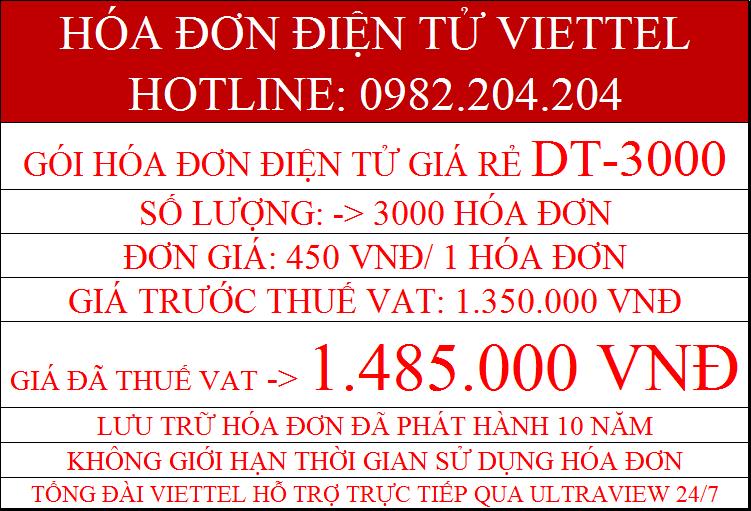 hóa đơn điện tử giá rẻ Viettel DT-3000 chỉ 1.485.000Đ