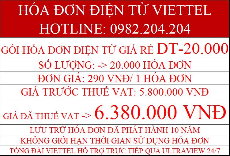 phần mềm hóa đơn điện tử giá rẻ Viettel gói DT-20000 chỉ 6.380.000Đ