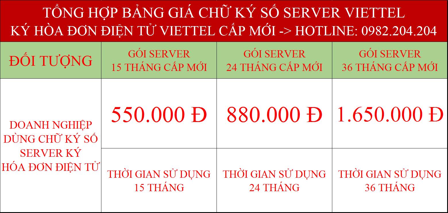 Bảng giá các gói chữ ký số hóa đơn điện tử Viettel cấp mới