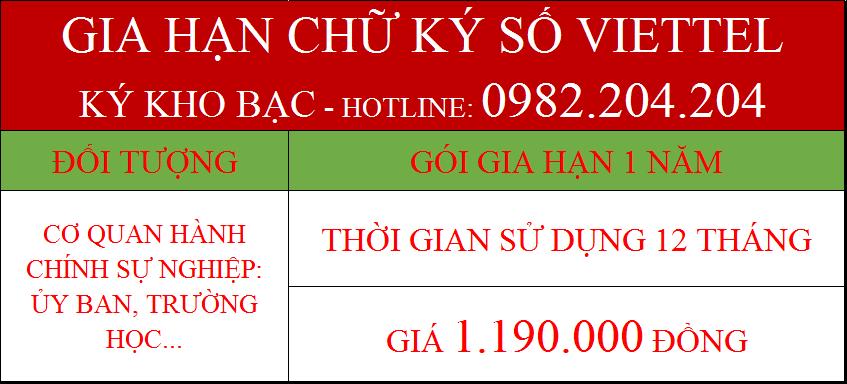 Giá gia hạn token Viettel ký kho bạc 1 năm chỉ 1190000Đ