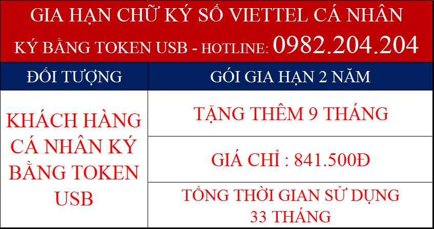 Gia hạn USB token Viettel cá nhân gói 2 năm