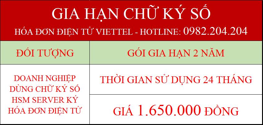 Gia hạn chữ ký số hóa đơn điện tử Viettel gói 2 năm