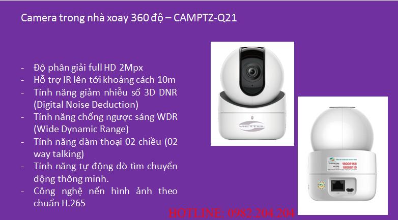 Thông số và tính năng loại Camera trong nhà xoay 360 độ Home Camera Viettel Wifi CAMPTZ-Q21