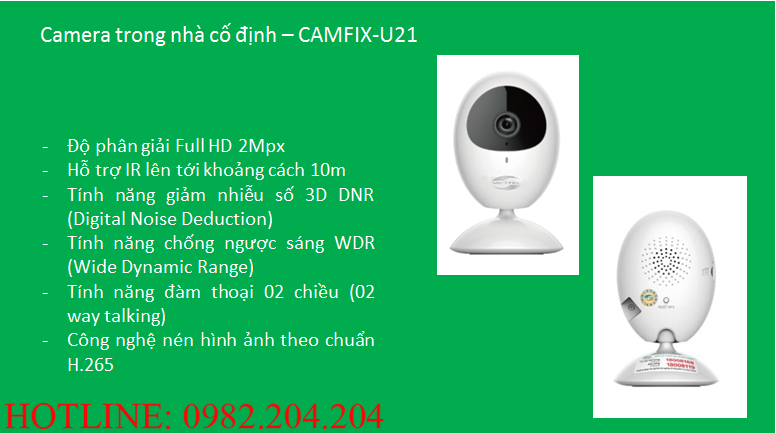 Thông số và tính năng loại trong nhà cố định Camera Wifi Viettel CAMIX-U21