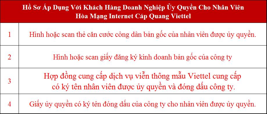 Lắp cáp quang Viettel Phú Giáo Bình Dương Hồ sơ áp dụng với doanh nghiệp ủy quyền