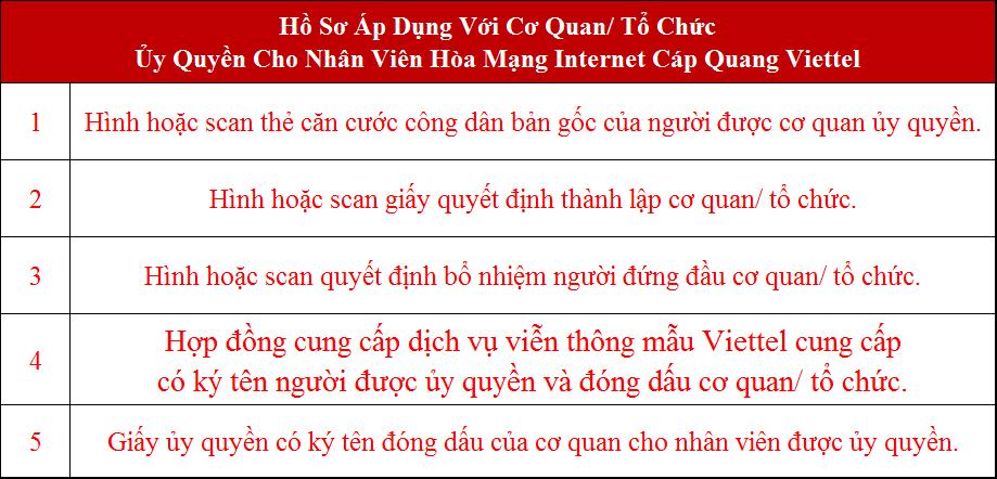 Lắp internet Viettel Hóc Môn HCM hồ sơ áp dụng cho cơ quan tổ chức ủy quyền