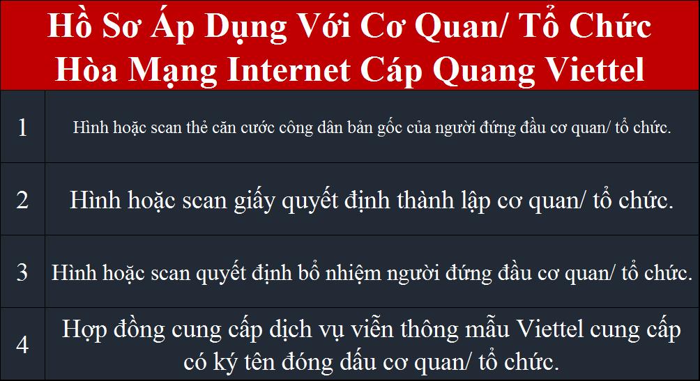 Lắp internet Viettel Quận 3 hồ sơ áp dụng cho cơ quan tổ chức