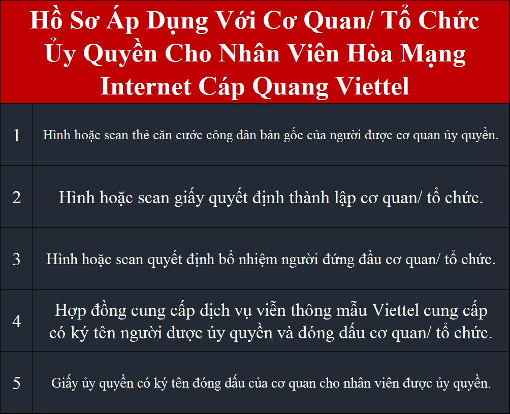 Lắp internet Viettel TPHCM Quận 3 hồ sơ áp dụng cho cơ quan tổ chức ủy quyền