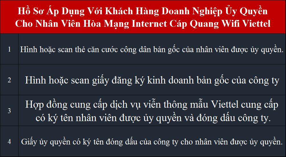 Lắp internet Viettel hồ sơ áp dụng cho doanh nghiệp ủy quyền
