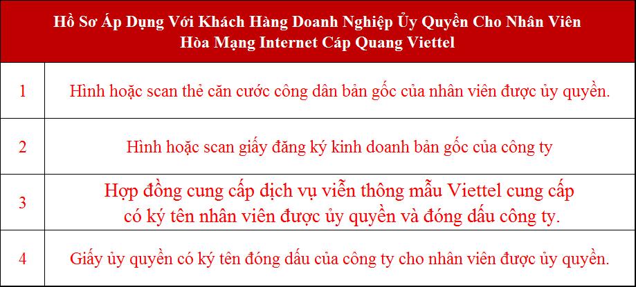 Lắp wifi Viettel Củ Chi hồ sơ áp dụng cho công ty ủy quyền