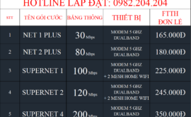 Bảng Giá Đăng Ký Lắp Đặt Mạng Internet Cáp Quang Wifi Viettel Bà Rịa Vũng Tàu 2021