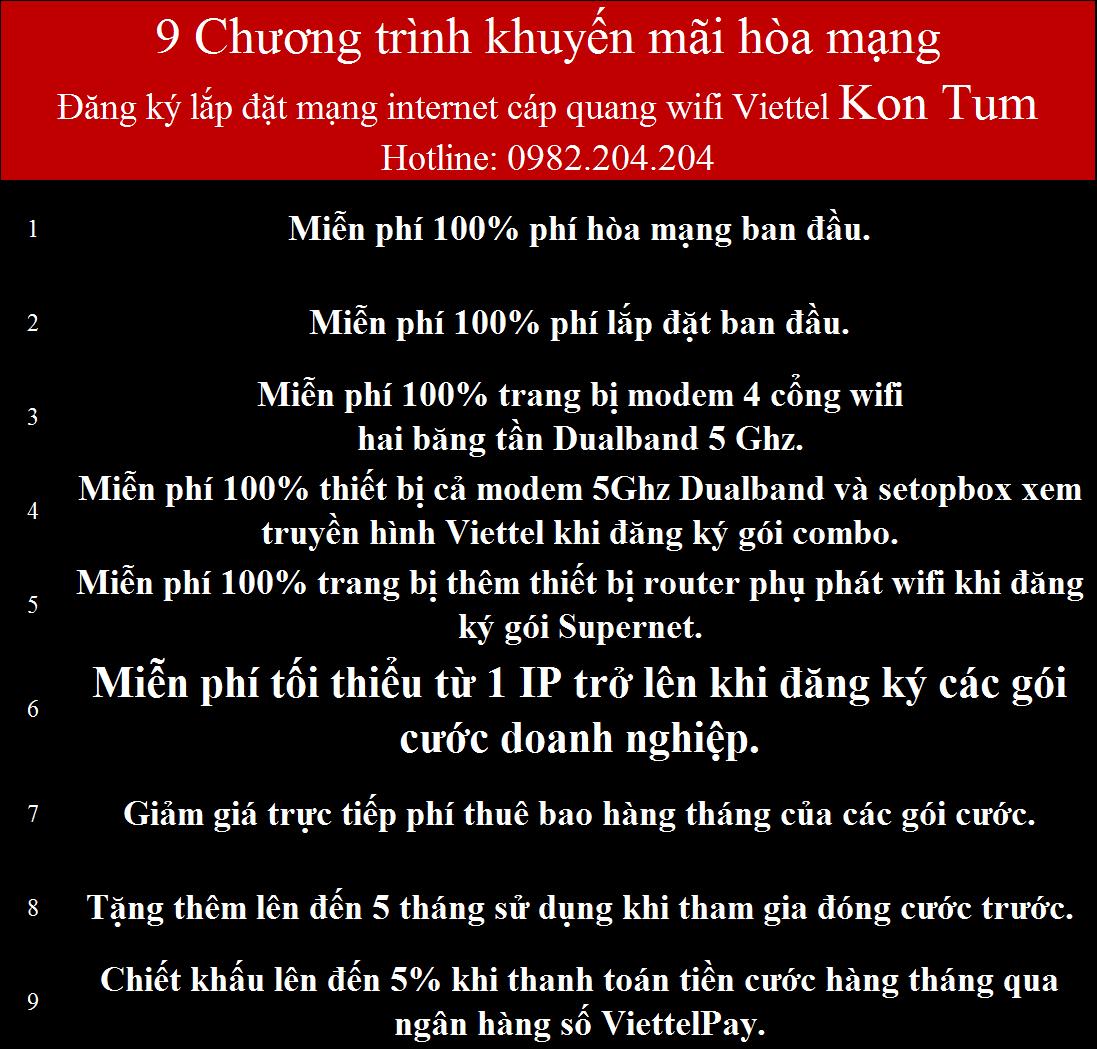 Đăng ký cáp quang Viettel Kon Tum