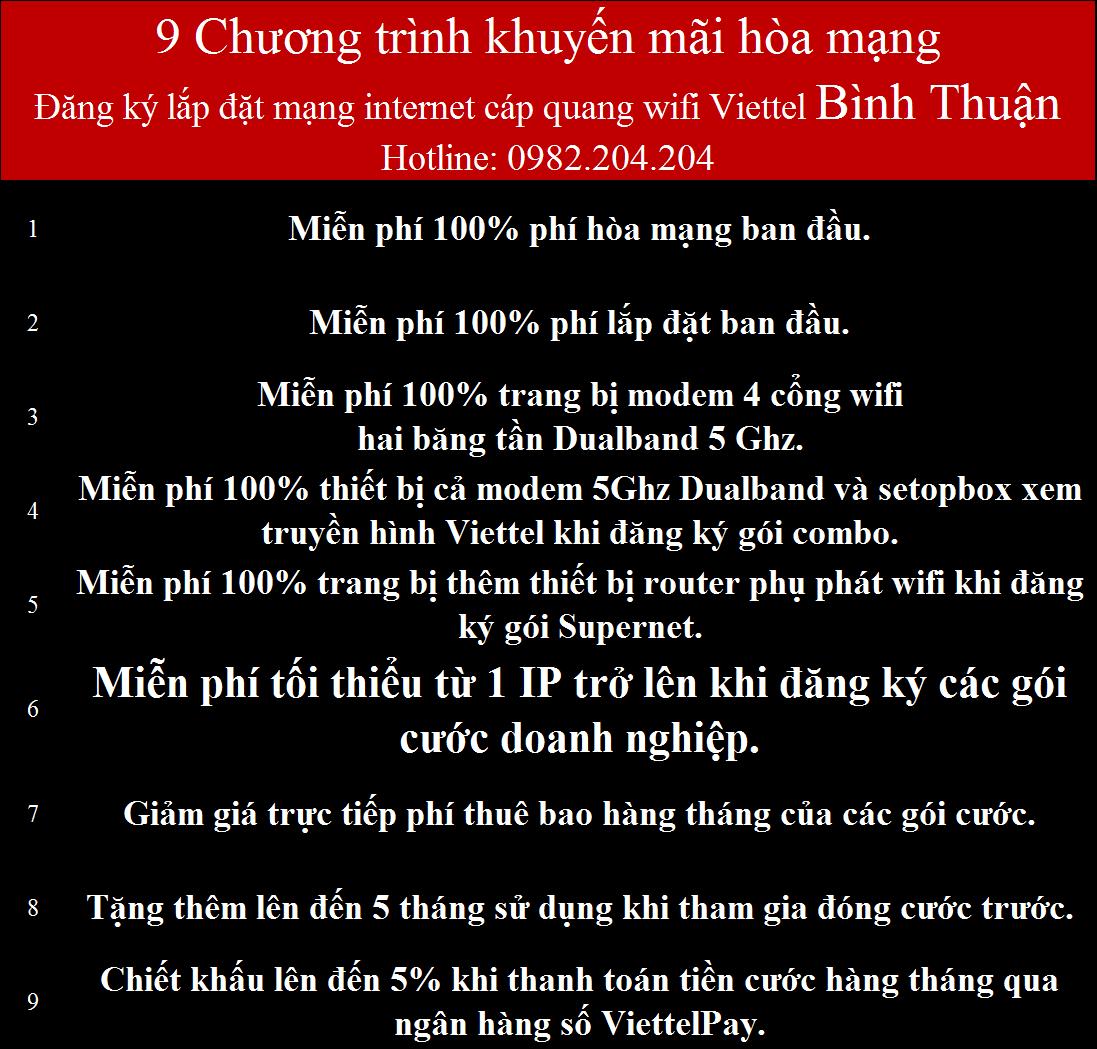 Khuyến mãi lắp internet Viettel Bình Thuận