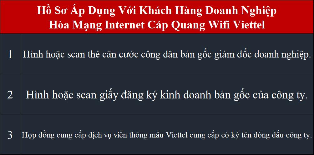 Khuyến mãi lắp mạng Viettel hồ sơ áp dụng cho doanh nghiệp