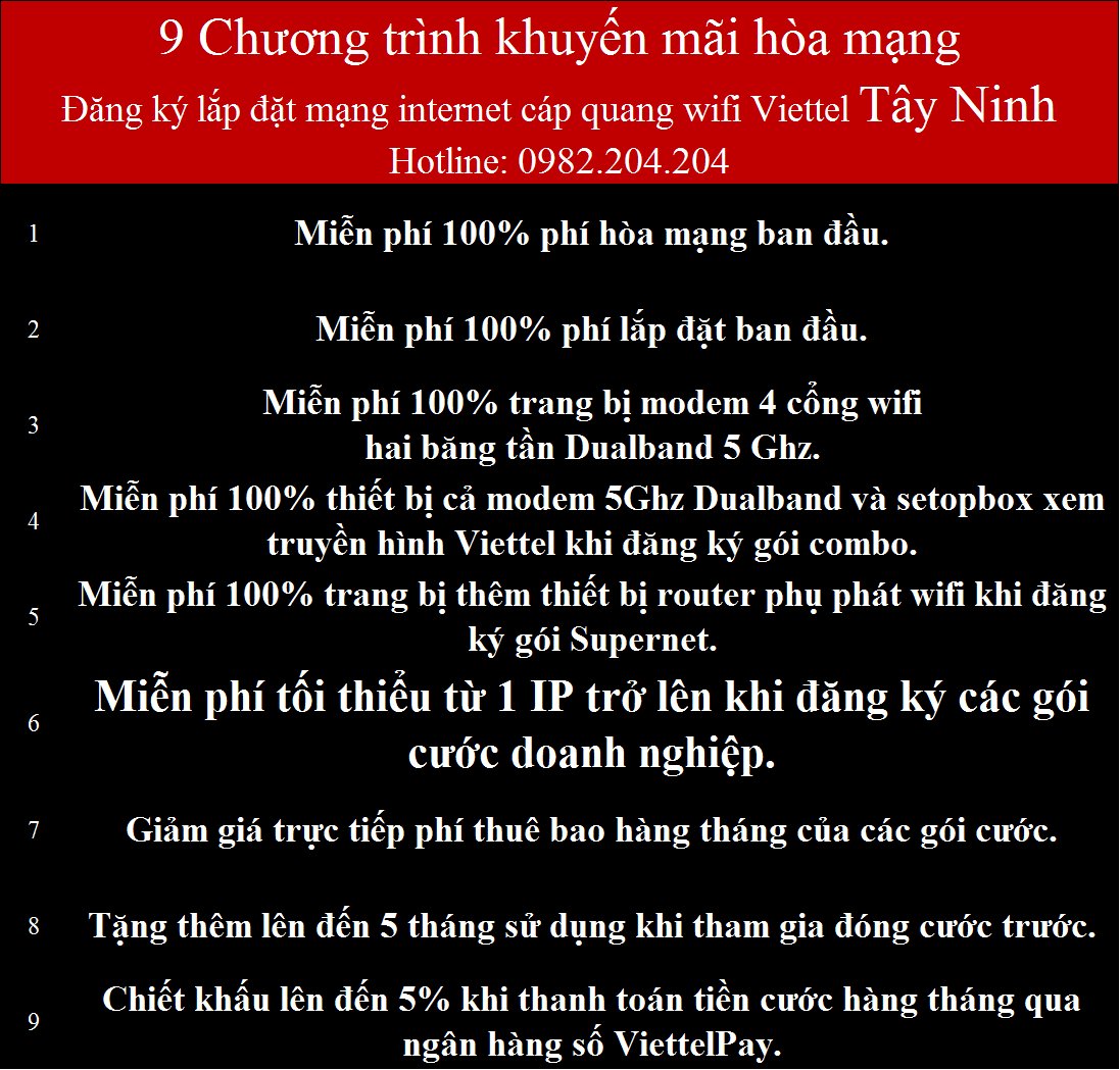 Khuyến mãi lắp mạng wifi Viettel Gò Dầu Tây Ninh