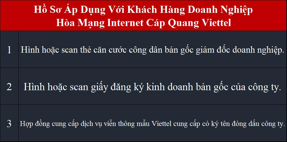 Lắp cáp quang Viettel HCM Tân Bình hồ sơ áp dụng cho doanh nghiệp