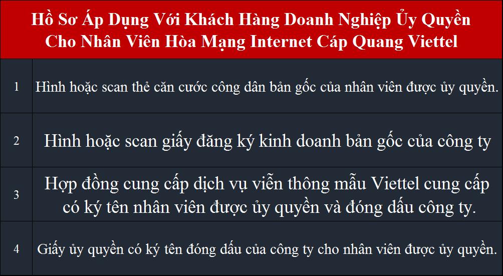 Lắp internet Viettel HCM Tân Bình hồ sơ áp dụng cho công ty ủy quyền